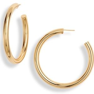 Argento Vivo 18K Gold Plated Sterlin Hoop Earrings